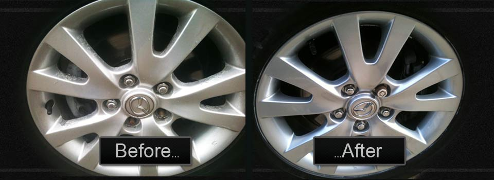 mazda alloy wheel refurbishment before & after